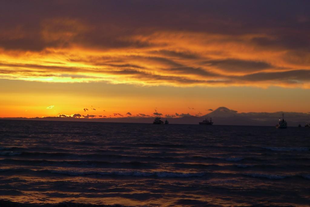 北条海岸の夕陽